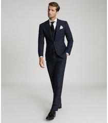 reiss eltham - slim fit checked blazer in indigo, mens, size 46