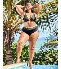 colourblock underwire non pad halter bikini top d-gg