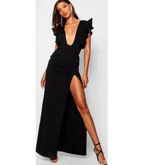 maxi jurk met diepe v-hals, ruches en split, zwart