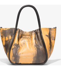 proenza schouler small tie dye ruched crossbody tote 0069 camel/black/brown one size