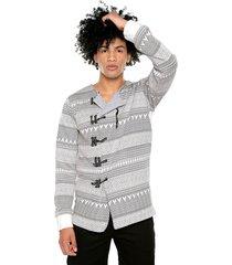 saco, buzo y cárdigan multilook masculino. textura en grises y  blanco de la marca osop mansion men's fashion jackpot 5 looks