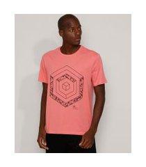 camiseta masculina geométrica manga curta gola careca coral