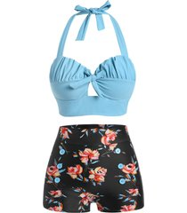 halter floral ruched boyshorts bikini swimwear