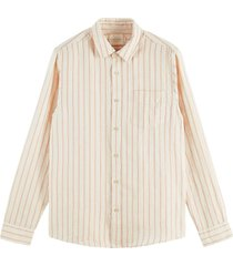 scotch & soda striped linen cotton shirt sand