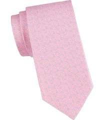 two-tone gancini logo silk tie