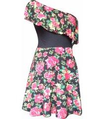 vestido hombro descubierto flores sarab/vhd-011e negro