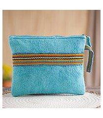 100% alpaca wristlet, 'peruvian stripes in turquoise' (peru)