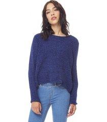 sweater chenille delgado mujer navy corona