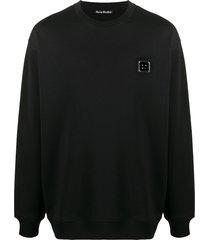 acne studios cotton long-sleeve sweatshirt - black