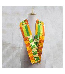 rayon and cotton blend scarf, 'kente royalty' (4.5 inch) (ghana)