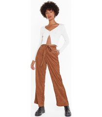 womens for the record-uroy high-waisted belted pants - camel