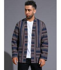 chaqueta de abrigo de otoño a rayas con bloques de color casual para hombre