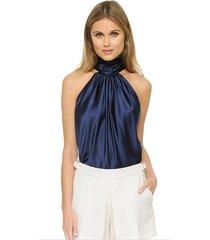 halter-neck silky satin blouse