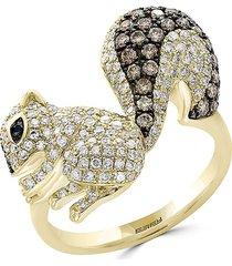 effy women's 14k yellow gold, white diamond, black diamond & espresso diamond chipmunk ring/size 7 - size 7