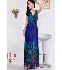 verano pavo real bohemia profunda v cuello largo vestido de playa - azul + verde
