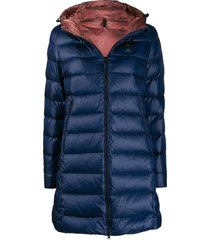 blauer george long padded coat - blue
