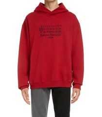 men's maison margiela numbers embroidered cotton hoodie, size 46 - red