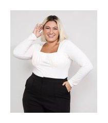 blusa feminina plus size mindset com franzido manga longa decote reto off white