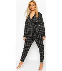 plus grid flannel blazer & trouser co-ord, black