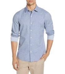 men's big & tall bonobos unbutton-down slim fit dobby button-up shirt, size xx-large - blue