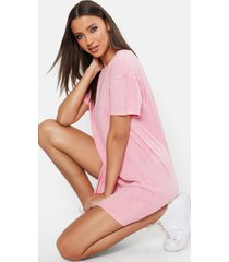 tall acid wash gebleekte t-shirtjurk, roze