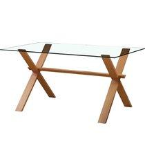 mesa nolina m base clara e vidro rivatti móveis bege