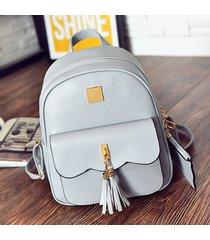 mochila de mujer/ mochila para mujer de 3 piezas bolsas de material-gris