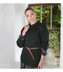 women's 100% soft merino wool crew neck sweater (moss green) xxl