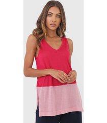 regata tricot dudalina color block rosa - rosa - feminino - viscose - dafiti