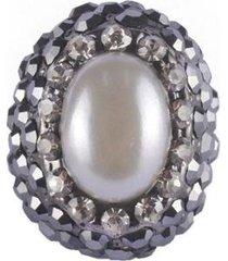 anel armazem rr bijoux com pérola e cristal feminino