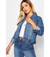 petite oversized boyfriend jean jacket, mid blue