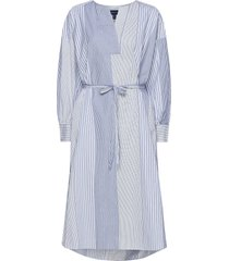 d1. mix stripe kaftan dress knälång klänning blå gant