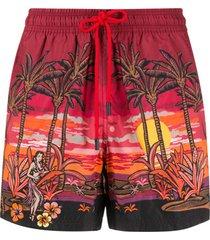 etro short de natação com estampa de palmeiras - vermelho