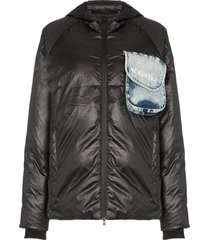 natasha zinko beach-trash print puffer jacket - black