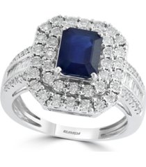 effy sapphire (1 1/2 ct. t.w) and diamond (1/2 ct. t.w) ring in 14k white gold (also available in tanzanite)