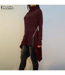 zanzea resorte de las mujeres suéter superior del puente tee camiseta de la túnica de la llamarada alto bajo la blusa -rojo