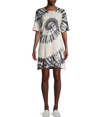 lucca women's tie-dye t-shirt dress - black pink tie dye - size xs