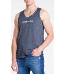 camiseta regata masculina double face marinho calvin klein jeans - m