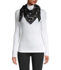 karl lagerfeld paris women's cat party cotton & silk scarf - black
