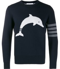 thom browne navy dolphin icon crew neck pullover - blue