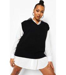 plus 2-in-1 oversized sweatshirt jurk, black