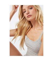 blusa de alcas finas em algodao natural - cinza g intimissimi