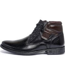 bota botina coturno ferrile em couro bico redondo zíper preta e marrom