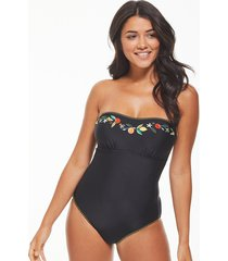 seville non-wired embroidered black strapless bandeau tummy control one-piece swimsuit