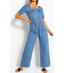 mock horn tie waist denim jumpsuit, mid blue