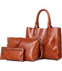 3 pcs borsa da donna vintage per il tempo libero olio crossbody in pelle cerata borsa