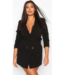 plus double breasted gold button blazer dress, black