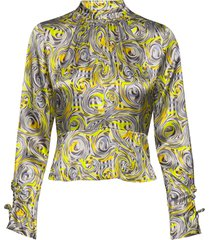 heavy satin blouse blouse lange mouwen multi/patroon ganni