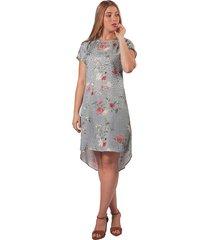 vestido adrissa jacquard floral asimetrico azul hortencia