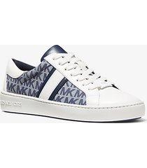 mk sneaker keaton in denim e pelle con logo - denim lavato (blu) - michael kors